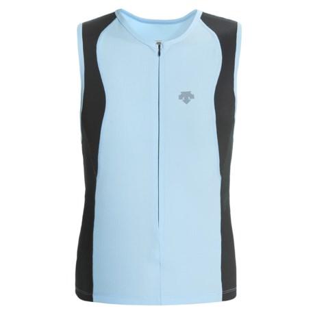 Descente Wave Tri Shirt - Full Zip, Sleeveless (For Men) in Sky