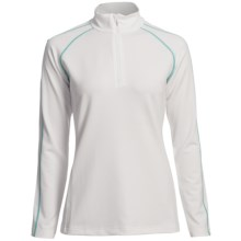 Descente Zoe Ski Zip Turtleneck - Long Sleeve (For Women) in Super White/Peacock Green - Closeouts