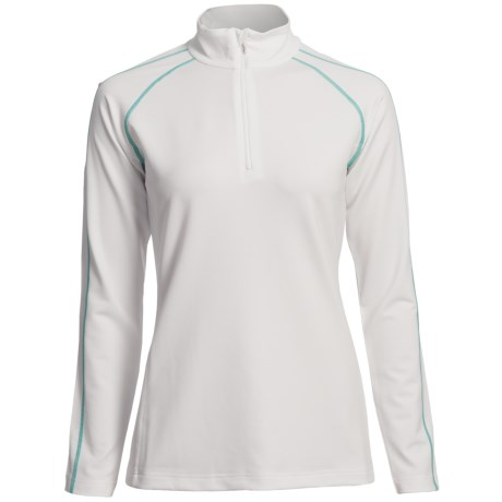 Descente Zoe Ski Zip Turtleneck - Long Sleeve (For Women) in Super White/Peacock Green
