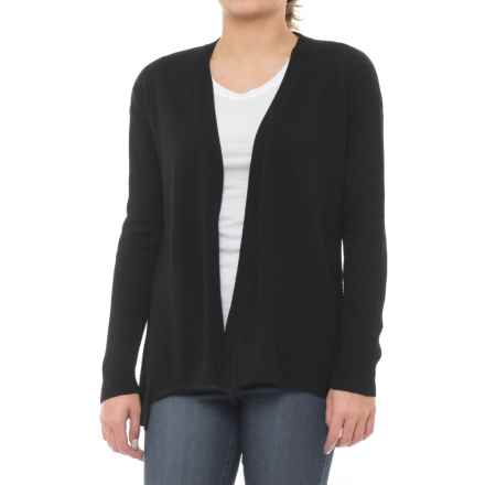 Design History Ribbed Cardigan - Long Sleeve (For Women) in Black Tie - Closeouts