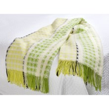 Designers Guild Brooksville Throw Blanket - Merino-Cotton in Lime - Closeouts