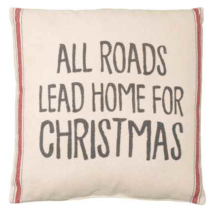 "Designs by Kathy All Roads Lead Home Throw Pillow - 20x20"" in Red - Closeouts"