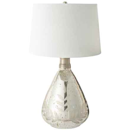 """Etched Wine Sphere Table Lamp with Shade - 15x25.5"""" in Silver/White - Closeouts"""