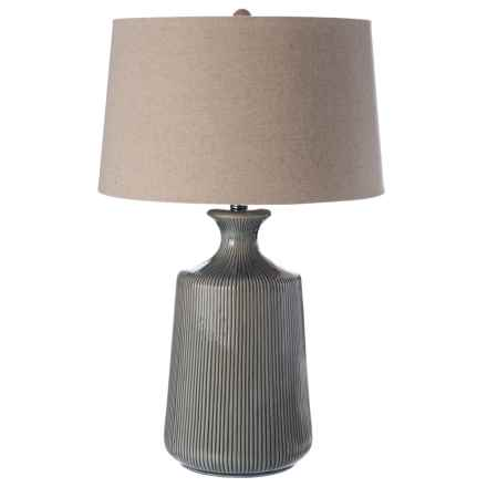 """Striped Ceramic Lamp with Linen Shade - 17x27"""" in Grey/Oatmeal - Closeouts"""