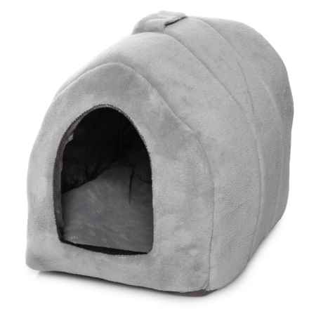 "Details Coral Fleece Pet Igloo - 14.5x12x13"" in Grey - Closeouts"