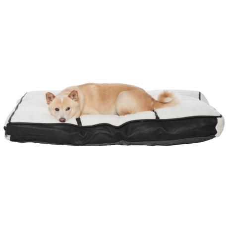 "Details Sherpa Faux-Leather Pillow Dog Bed - 40x28"" in Ivory/Black"