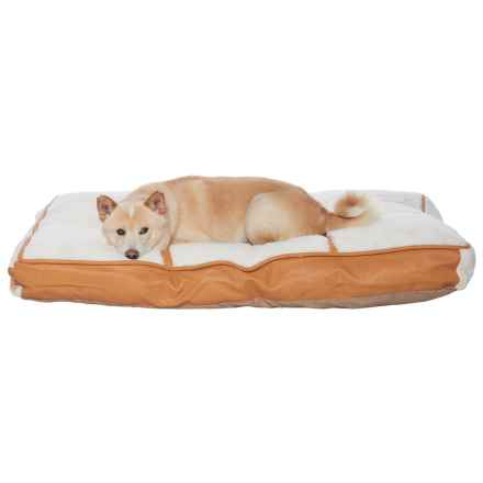 "Details Sherpa Faux-Leather Pillow Dog Bed - 40x28"" in Ivory/Camel - Closeouts"