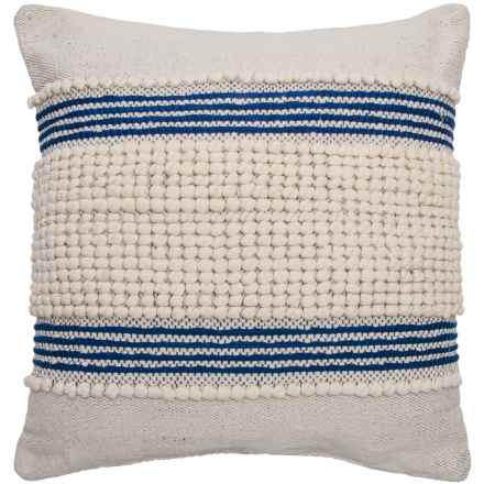 "Devi Clyde Textured Stripe Throw Pillow - 20x20"" in Natural Navy - Closeouts"