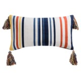 """Devi Designs Bahama Woven Striped Decor Pillow with Tassels - 14x26"""""""