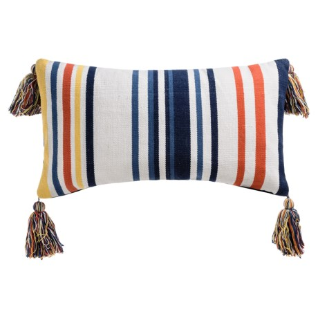 "Devi Designs Bahama Woven Striped Decor Pillow with Tassels - 14x26"" in Multi"
