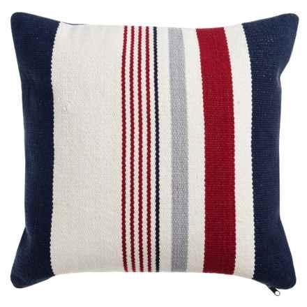 """Devi Designs Chatham Multi-Stripe Woven Decor Pillow - 20x20"""", Cotton in Red/White/Navy/Stripe - Closeouts"""