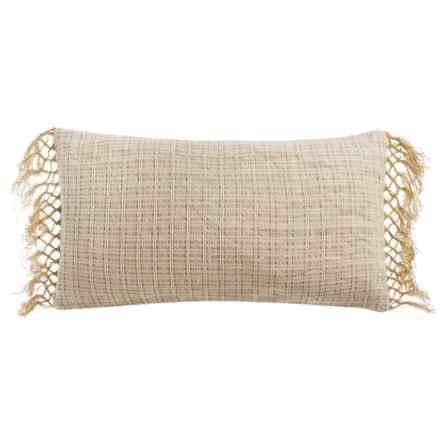 """Devi Designs Dillon Fringe Decor Pillow - 14x26"""", Cotton-Jute Blend in Natural - Closeouts"""