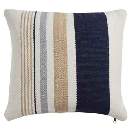 "Devi Designs Hyannis Decor Pillow - 19x19"" in Navy Natural Stripe - Closeouts"