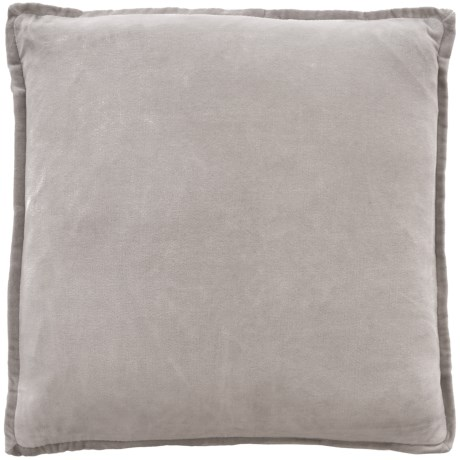 """Devi Designs Solid Velvet Pillow - 20x20"""", Feathers in Grey"""