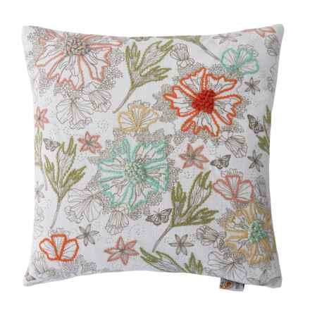 "Devi Designs Wildflowers Embroidered Decor Pillow - 19x19"" in Multi - Closeouts"