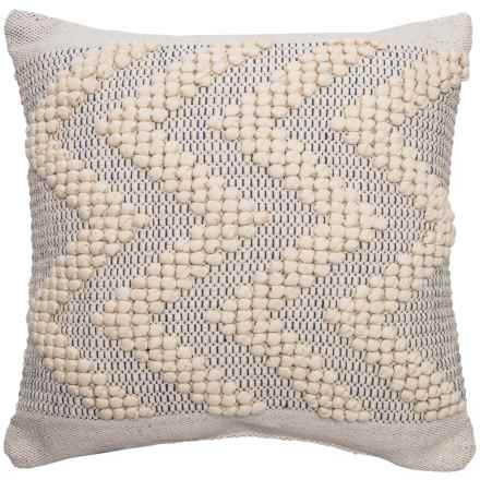 "Devi Ernesto Textured Chevron Throw Pillow - 20x20"" in Natural Navy - Closeouts"