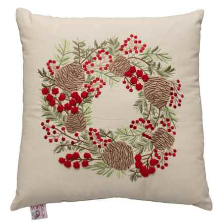 "Devi Pinecone Wreath Throw Pillow - 20x20"" in Neutral - Closeouts"