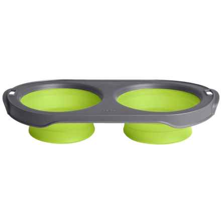 Dexas Popware Collapsible Pet Feeder - 2-Bowl Set, Large in Green - Closeouts