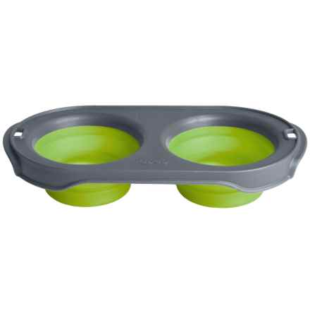Dexas Popware Collapsible Pet Feeder - 2-Bowl Set, Small in Green - Closeouts