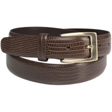 Di Stefano Lizard Print Leather Belt (For Men) in Chocolate - Closeouts