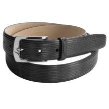 Di Stefano Striped Calfskin Belt (For Men) in Black - Closeouts