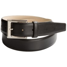 Di Stefano Subtly Textured Dress Belt - Calfskin (For Men) in Black - Closeouts