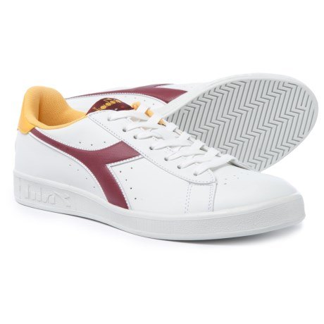 Diadora Game P Sneakers - Leather (For Men and Women) in White/Cordovan/Daffodill