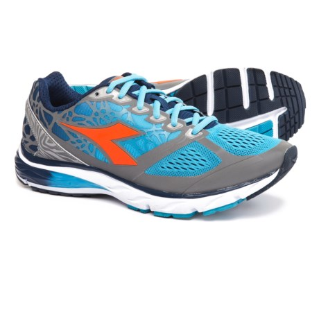 Diadora Mythos Blushield® Bright Running Shoes (For Men) in Fluo Cyan Blue/Fluo Orange