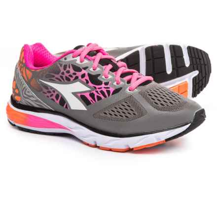 Diadora Mythos Blushield Bright Running Shoes (For Women) in Silver Dd/Fluo Orange - Closeouts