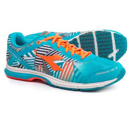 Diadora Mythos Racer Evo 2 Running Shoes (For Men) in Fluo Cyan Blue/Fluo Orange - Closeouts