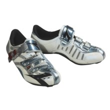 Diadora Team Racer Fibra Cycling Shoes - 3-Hole (For Men) in Silver / White / Black - Closeouts
