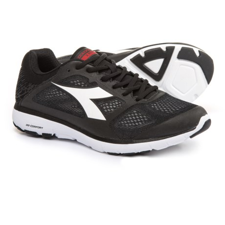 Diadora X Run Running Shoes (For Men) in Black/White Pristine