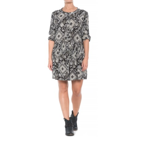 Diamond Floral Print Dress - 3/4 Sleeve (For Women)