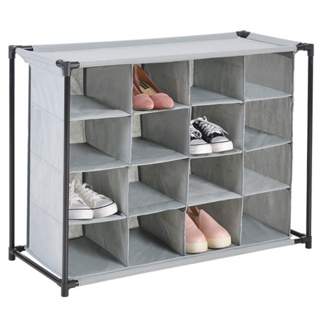 Diamond Home 16-Compartment Shoe Cubby in Grey