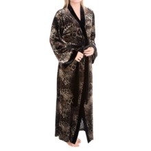 Diamond Tea Burnout Velvet Wrap Robe - Long Sleeve (For Women) in Animal - Closeouts