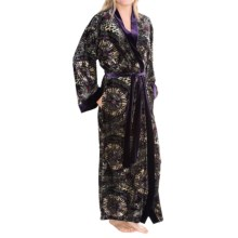 Diamond Tea Burnout Velvet Wrap Robe - Long Sleeve (For Women) in Aubergine - Closeouts