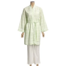 Diamond Tea Cotton Check Robe (For Women) in Mint - Closeouts