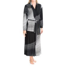 Diamond Tea Long Wrap Robe - Long Sleeve (For Women) in Black - Closeouts