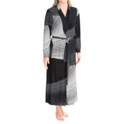 Diamond Tea Long Wrap Robe - Long Sleeve (For Women) in Black