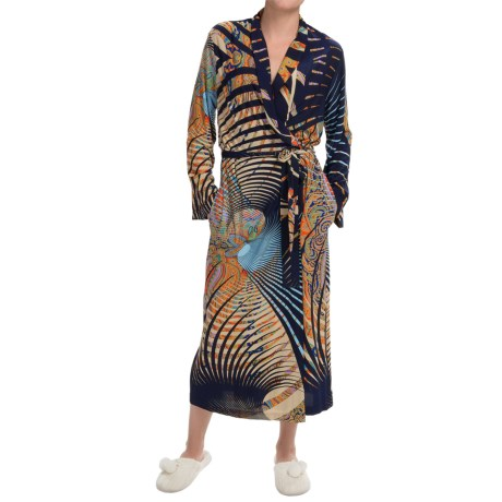 Diamond Tea Long Wrap Robe Long Sleeve (For Women)