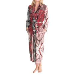Diamond Tea Long Wrap Robe - Long Sleeve (For Women) in Cranberry