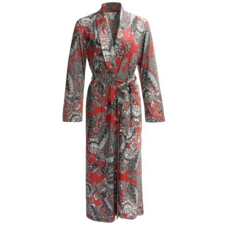 Diamond Tea Long Wrap Robe - Long Sleeve (For Women) in Lipstick