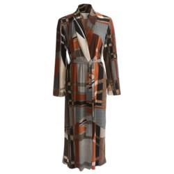 Diamond Tea Long Wrap Robe - Long Sleeve (For Women) in Terracotta