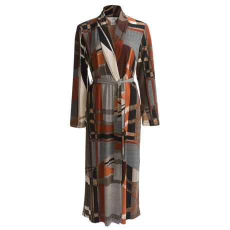 Diamond Tea Long Wrap Robe - Long Sleeve (For Women) in Terracotta