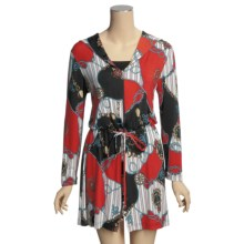 Diamond Tea Nautical Print Robe - Zip Front, Long Sleeve (For Women) in Red - Overstock