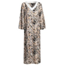 Diamond Tea Pebble Satin Caftan - Long Sleeve (For Women) in Bamboo - Closeouts