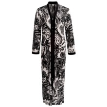 Diamond Tea Printed Stretch Jersey Robe - Long Sleeve (For Women) in Black Paisley - Closeouts