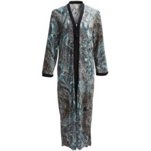 Diamond Tea Printed Stretch Jersey Robe - Long Sleeve (For Women) in Bluemoon - Closeouts
