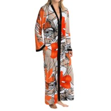 Diamond Tea Printed Stretch Jersey Robe - Long Sleeve (For Women) in Tangerine - Closeouts