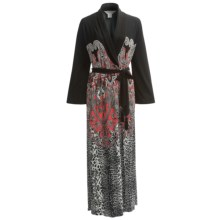Diamond Tea Printed Wrap Tie Robe - Long Sleeve (For Women) in Geranium - Closeouts